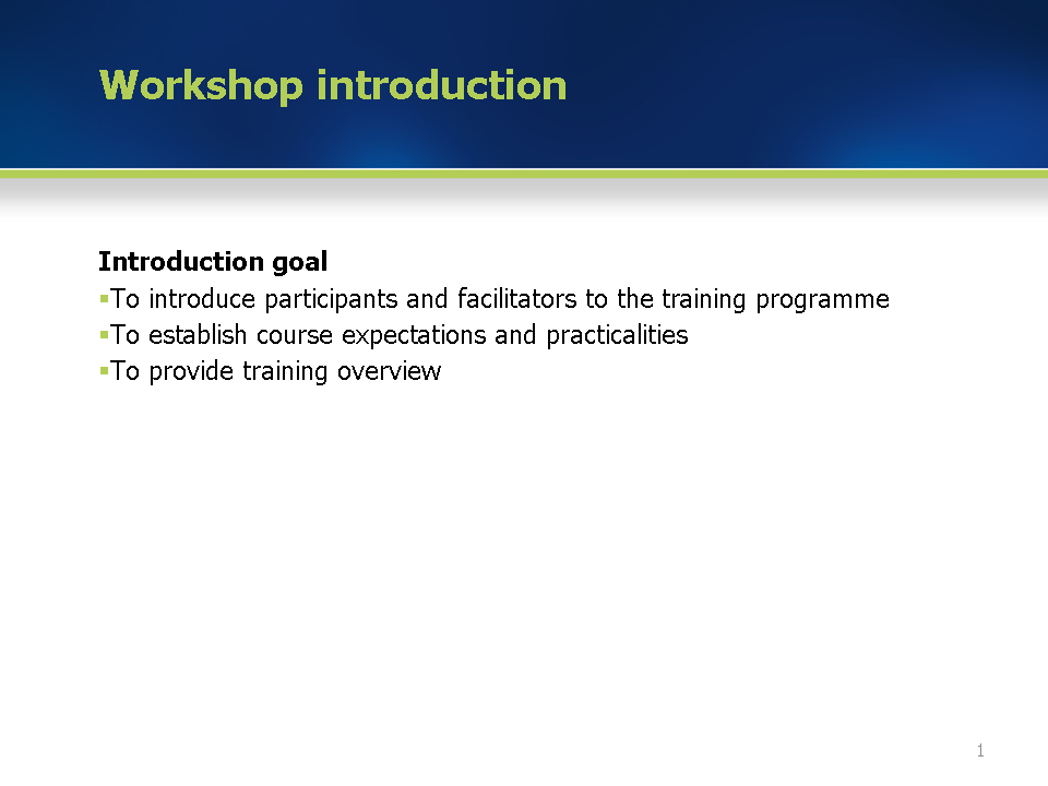 training guide workshop introduction